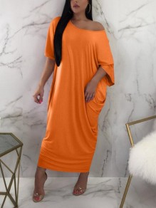 Orange Draped One Shoulder Boat Neck Short Sleeve Casual Maxi Dress