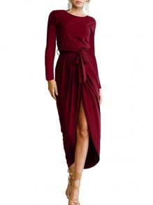 Wine Red Belt Irregular Round Neck Long Sleeve Casual Maxi Dress