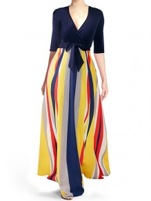 Blue Patchwork Striped Rainbow Pockets Sashes Bow Flowy Casual Maxi Dress