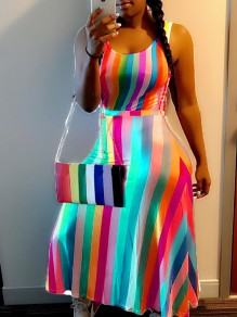 Orange Striped Rainbow High Waisted Draped Elegant Casual Maxi Dress