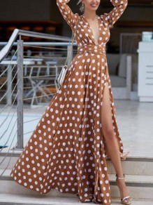 Brown White Polka Dot Belt Deep V-neck Side Slits Bohemian Beachwear Maxi Dress