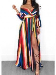 Blue Striped Print Off Shoulder Rainbow Sashes Slit High Waisted Deep V-neck Maxi Dress