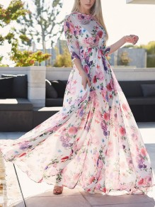 Pink Gypsy Floral Draped High Waisted Flowy Boho Elegant Party Sun Maxi Summer Dress