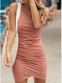 Pink Ruffle Round Neck Fashion Mini Dress