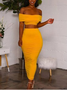 Yellow Off Shoulder Backless Two Piece Party Clunwear Maxi Dress