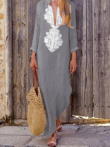 Grey Floral Print Draped Deep V-neck Long Sleeve Bohemian Maxi Dress