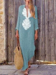 Light Blue Floral Print Draped Deep V-neck Long Sleeve Bohemian Maxi Dress