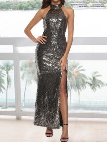 Golden Sequin Side Slit Halter Neck Backless Mermaid Prom Cocktail Party Maxi Dress