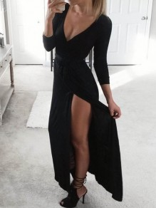 Black Side Slit Sashes V-neck Casual Maxi Dress