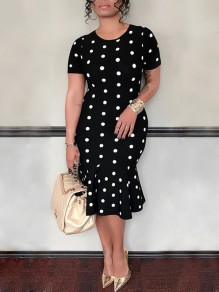 Black Polka Dot Ruffle Bodycon Short Sleeve Elegant Party Midi Dress