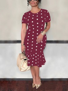 Burgundy Polka Dot Ruffle Bodycon Short Sleeve Elegant Party Midi Dress