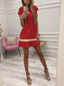 Red Patchwork Ruffle Sequin Round Neck Short Sleeve Mini Dress