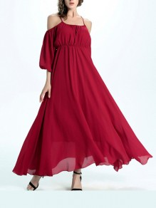 Wine Red Condole Belt Ruffle Round Neck Fashion Maxi Dress