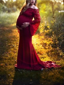 Burgundy Patchwork Lace Off Shoulder Mermaid Bell Sleeve Elegant Maternity For Babyshowes Maternity Dress