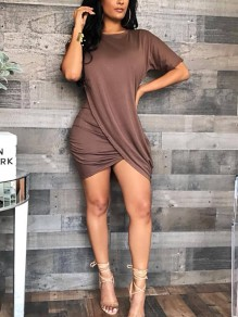 Brown Cross Irregular Ruched Plus Size Casual Mini Dress