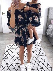 Navy Blue Floral Sashes Off Shoulder Casual Mini Dress