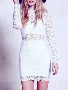 White Patchwork Lace Cut Out Round Neck Fashion Mini Dress