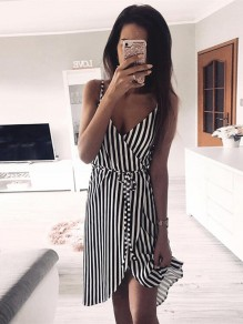 Black Striped Sashes Bow Irregular Sweet Going out Midi Dress