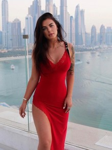 Red Patchwork Lace Cut Out Slit V-neck Party Maxi Dress