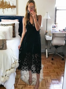 Black Patchwork Lace Cut Out Spaghetti Strap Party Maxi Dress