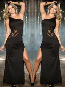 Black Patchwork Lace Irregular Floor Length Fashion Maxi Dress