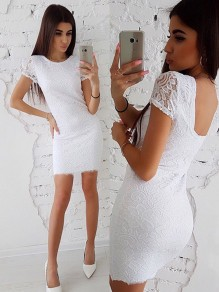 White Lace Round Neck Short Sleeve Elegant Mini Dress