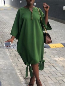 Green Draped Bowknot 3/4 Sleeve Dolman Sleeve Hippie Oversized Casual Midi Dress