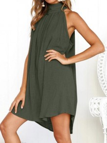 Green Pleated Cut Out Buttons Round Neck Sleeveless Casual Mini Dress