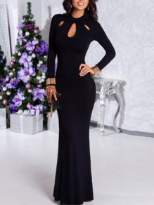 Black Cut Out Mermaid Long Sleeve Prom Evening Party Maxi Dress