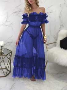 Sapphire Blue Grenadine Cascading Ruffle Off Shoulder Lace-up Sheer Party Clubwear Maxi Dress