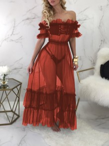 Red Grenadine Cascading Ruffle Off Shoulder Lace-up Sheer Party Clubwear Maxi Dress