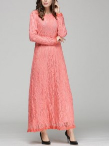 Pink Patchwork Lace Floral Draped Round Neck Long Sleeve Elegant Prom Maxi Dress