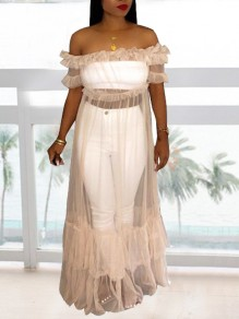 White Grenadine Ruffle Off Shoulder Peplum Fluffy Puffy Party Maxi Dress