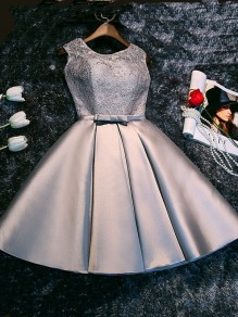 Silver Patchwork Lace Tie Back Bow Round Neck Elegant Mini Dress