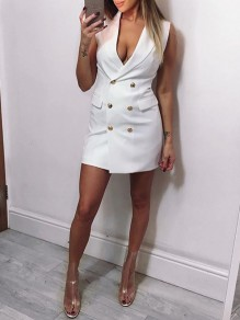 White Double-Breasted V-neck Pockets Bodycon Turndown Collar Elegant Casual Mini Dress