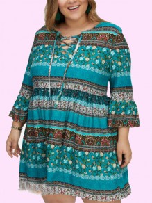 Green Tribal Print Drawstring Lace-Up Draped Bell Sleeve Plus Size Bohemian Mini Dress