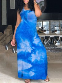 Blue Gradient Print Spaghetti Strap Halter Neck Backless Casual Bohemian Maxi Dress