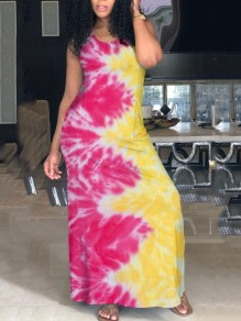 Yellow Gradient Print Spaghetti Strap Halter Neck Backless Casual Bohemian Maxi Dress