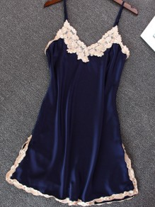Navy Blue Patchwork Lace Spaghetti Strap Backless Double Slit Casual Mini Dress