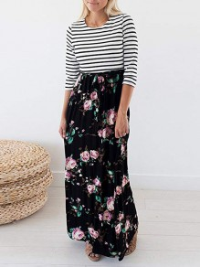 Black Striped Flowers Print Pockets Round Neck Maxi Dress