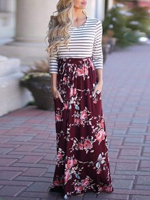 Wine Red Striped Flowers Print Pockets Round Neck Maxi Dress