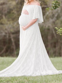 White Floral Lace Ruffle Off Shoulder Mermaid Pregnant Photoshoot Elegant Maternity Maxi Dress