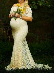 Beige Floral Lace Ruffle Off Shoulder Mermaid Pregnant Photoshoot Elegant Maternity Maxi Dress