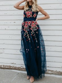 Navy Blue Patchwork Embroidery Grenadine Round Neck Party Maxi Dress