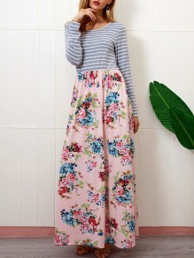 Pink Floral Striped Print Patchwork Pockets Round Neck Long Sleeve Casual Maxi Dress