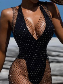 Black Rhinestone Fishnet Side Slit V-neck Beachwear Clubwear Fashion Maxi Dress