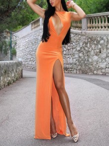 Orange Cut Out Thigh High Side Slits Bodycon Elegant Homecoming Party Maxi Dress