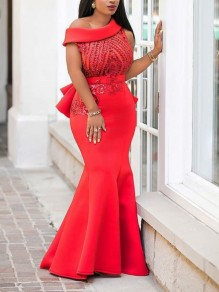 Red Asymmetric Off Shoulder Sequin Rhinestone Cascading Ruffle Mermaid Elegant Party Maxi Dress