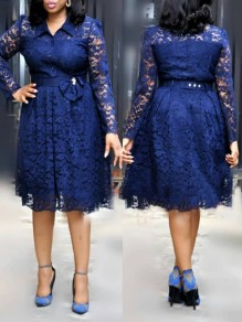 Blue Patchwork Lace Belt Bow Pleated Tutu Elegant Homecoming Party Midi Dress