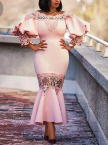 Pink Patchwork Lace Cut Out Off Shoulder Backless Lantern Sleeve Mermaid Elegant Party Maxi Dress